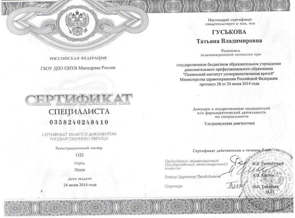 Сертификат Гуськова